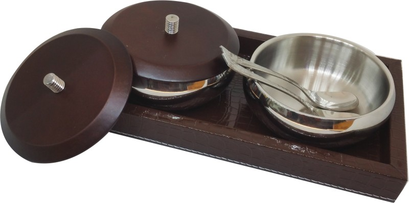 M S Megaslim BEST QUALITY Attractive Design Bowl Set of 2 with lid + 2 spoon with 1 Serving Wooden Tray Serving set 5 Pcs Set of multi-purpese use Perfect Gift For This Festive Season Season Golden Gift Box,Diwali Gifting,Dhanteras & Festive Gifting Box & for serving family dishes and snacks, like p