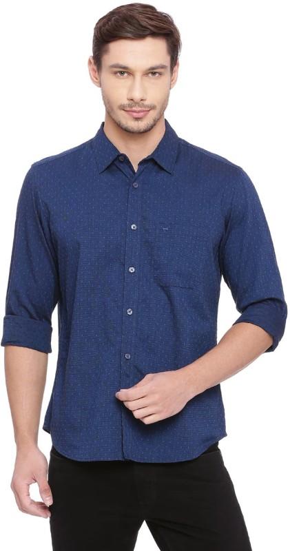 Basics Men Polka Print Casual Blue Shirt