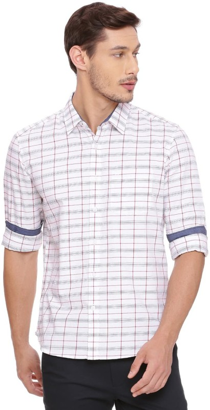 Basics Men Checkered Casual White Shirt