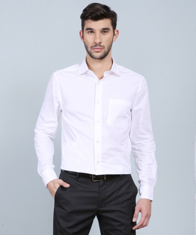 Louis Philippe Men's Solid Formal White Shirt