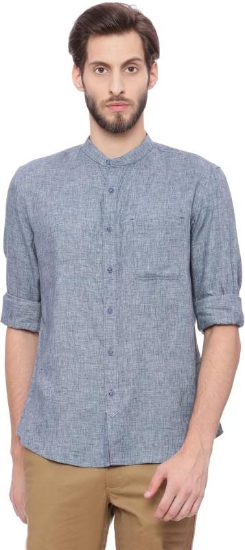 Basics Men Solid Casual Light Blue Shirt