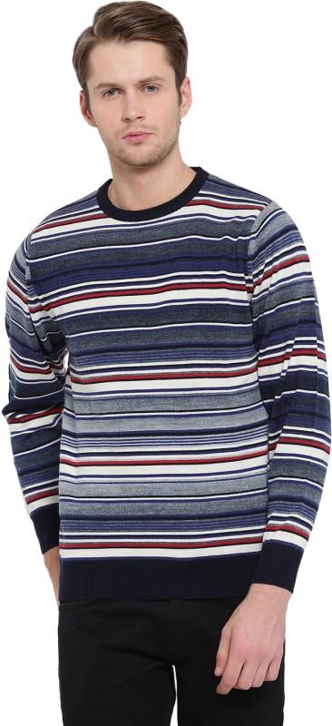 Monte Carlo Striped Round Neck Casual Men Blue Sweater
