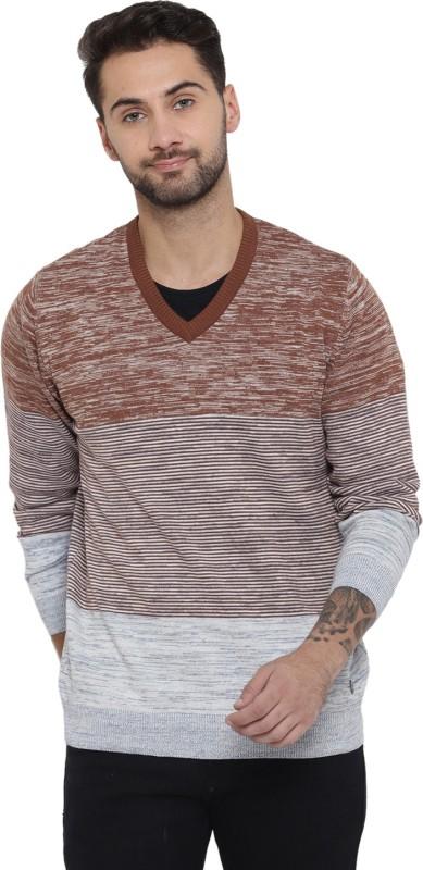 Monte Carlo Striped V-neck Casual Men Multicolor Sweater
