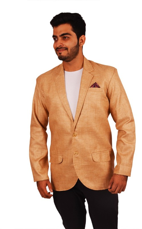 Honey Fashion Solid Single Breasted Party Men's Blazer(Beige)