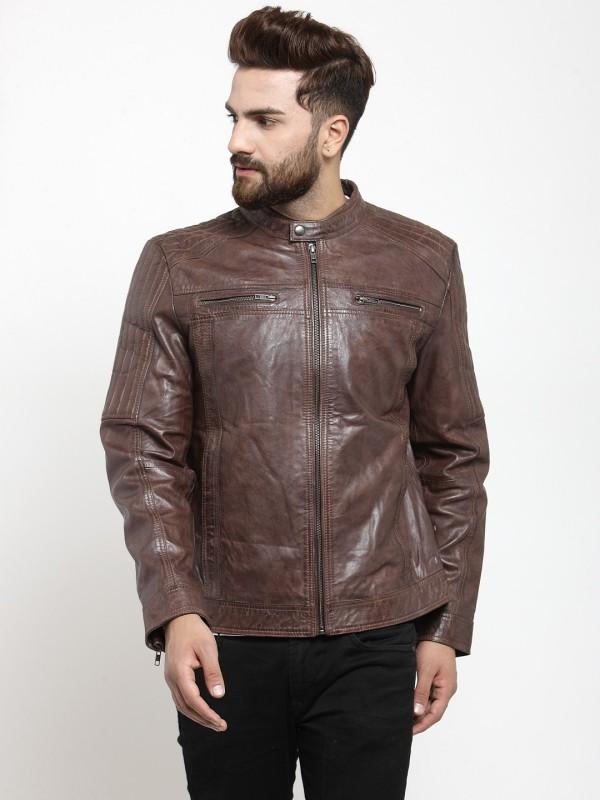 Teakwood Leathers Full Sleeve Solid Men Jacket