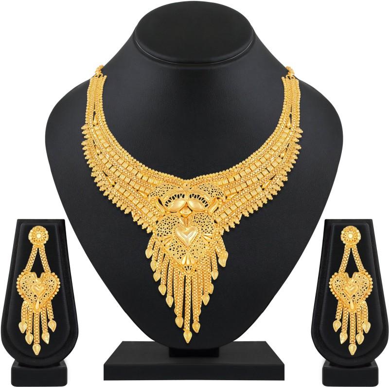 Asmitta Jewellery Brass Jewel Set(Gold)