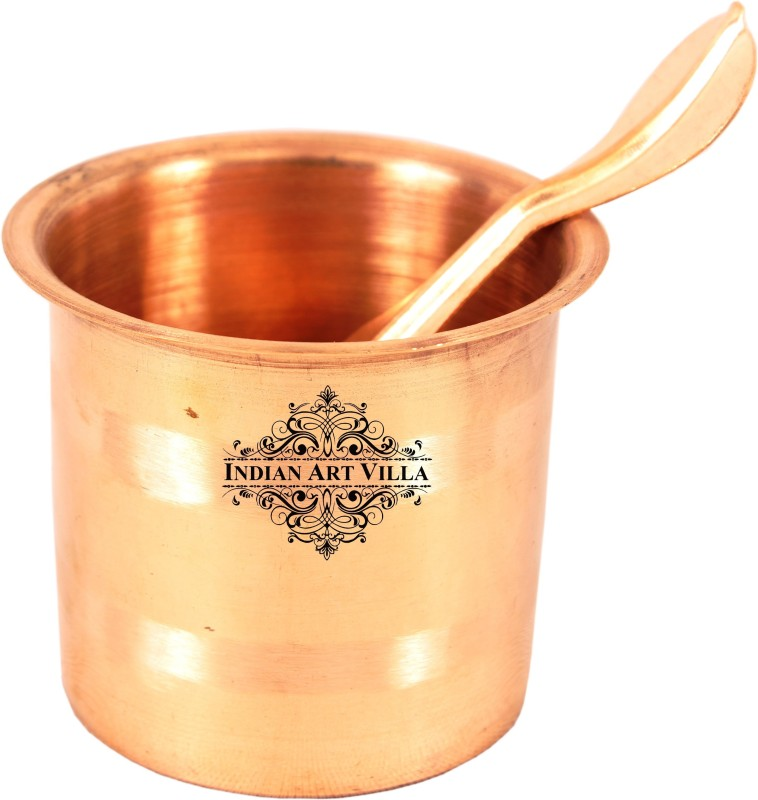 IndianArtVilla Copper Panch Patra,Pooja item,Festival Use Copper(2 Pieces, Brown)