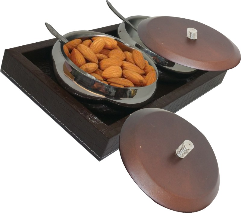 CASADOMANI BEST Collection Bowl Set of 2 with lid + 2 spoon with 1 Serving Wooden Tray Serving set 5 Pcs Set of multi-purpese use Perfect Gift For This Festive Season Season Golden Gift Box,Diwali Gifting,Dhanteras & Festive Gifting Box & for serving family dishes and snacks, like pasta, salad,fruit