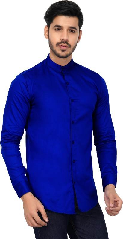 U TURN Men Solid Party Blue Shirt