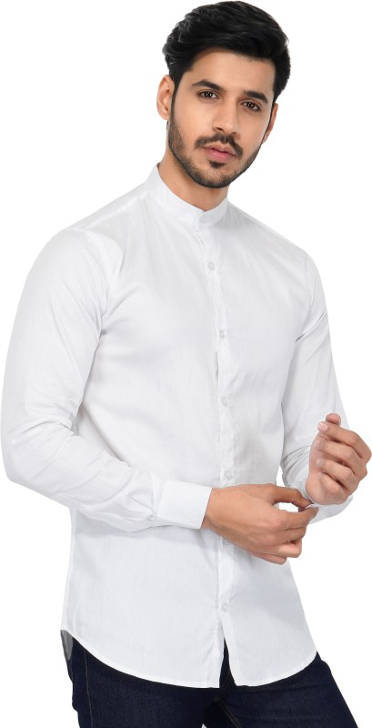 U TURN Men Solid Party White Shirt
