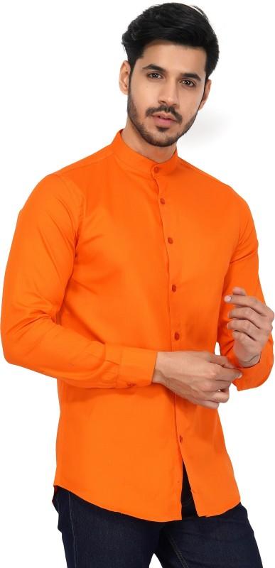 U TURN Men Solid Party Orange Shirt