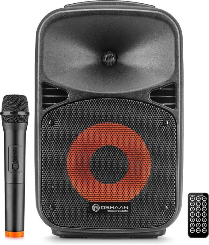 "Oshaan Wireless Rechargeable 8"" Trolley Speaker 56 W Bluetooth Tower Speaker(Black, Mono Channel)"