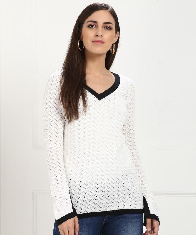 Vero Moda Self Design V-neck Casual Women's White Sweater