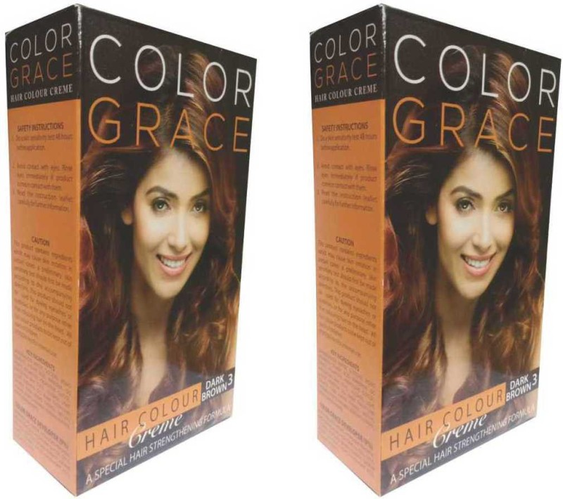 COLOR GRACE Hair Color Crème Dark Brown For Women & Men Hair Color(Dark Brown)