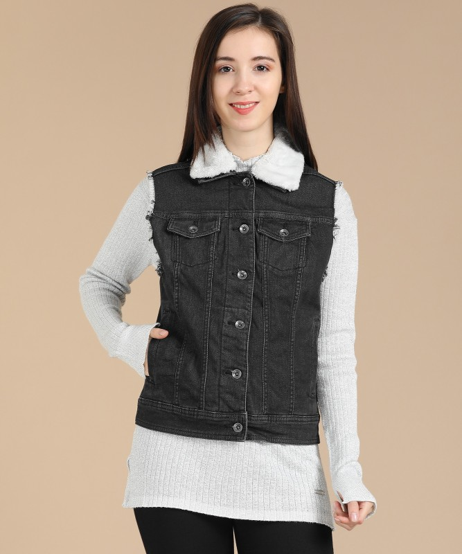 Pepe Jeans Sleeveless Solid Women Denim Jacket
