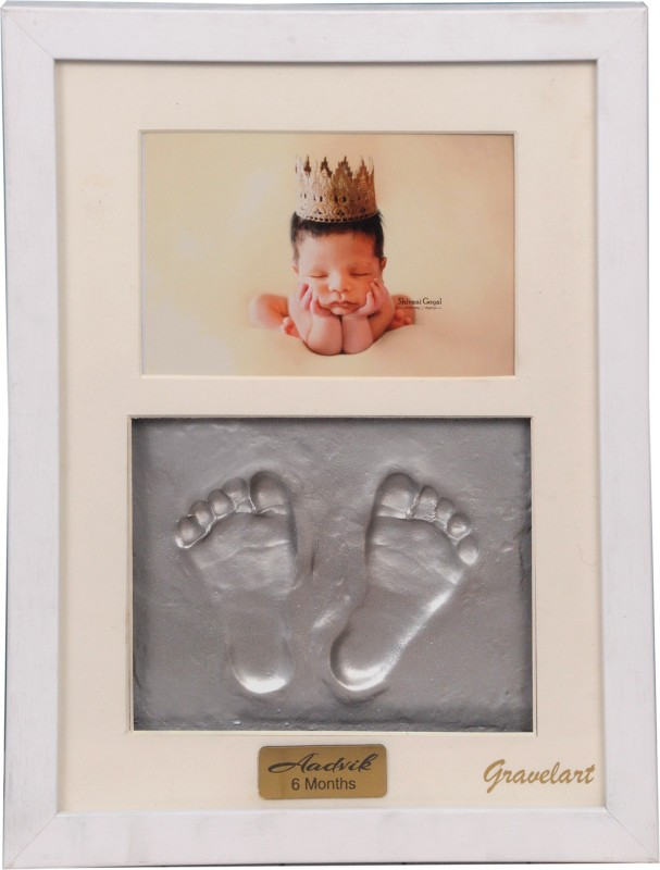 Gravelart Baby Handprint & Footprint Kit Photo Frame for Newborn Girls and Boys Impression, Baby Photo Album For Shower, Baby Gifts, Keepsake Box Decorations for Room Wall Nursery Decor - White frame metallic silver Keepsake(Silver)