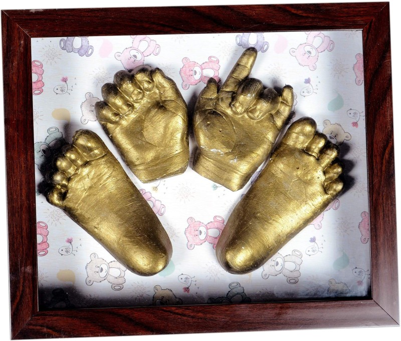 Gravelart Baby Impression Kit - DO-IT-YOURSELF-small frame teddy print metallic gold Keepsake(Dull Metallic Gold)