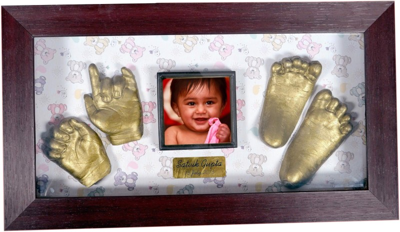 Gravelart Baby Impression Kit - DO-IT-YOURSELF- big frame teddy print with name plate Keepsake(Dull metallic gold)