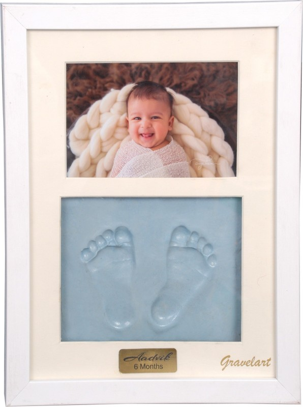 Gravelart Baby Handprint & Footprint Kit Photo Frame for Newborn Girls and Boys Impression, Baby Photo Album For Shower, Baby Gifts, Keepsake Box Decorations for Room Wall Nursery Decor - white frame with engraved plate Blue color Keepsake(Blue)