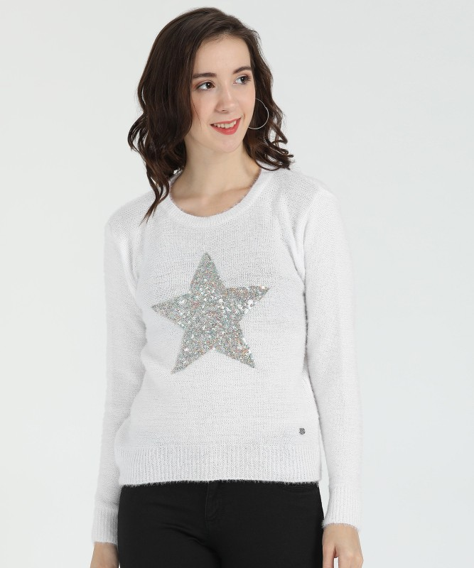 Duke Embellished Round Neck Casual Women White Sweater