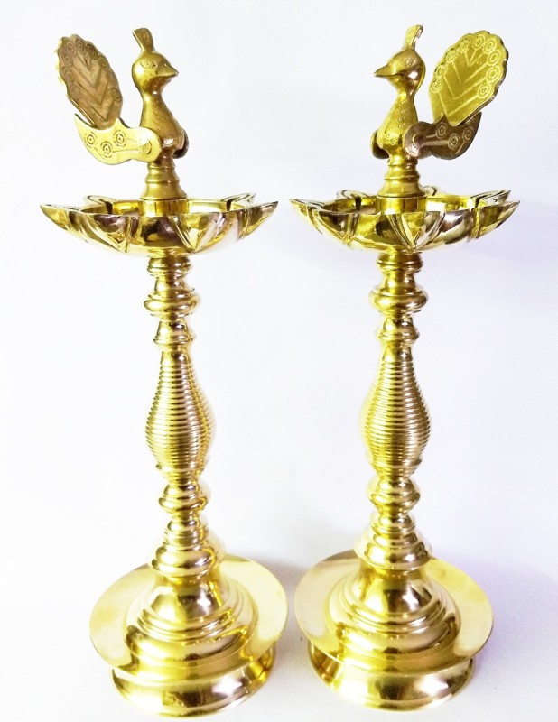 AMKL Goa Samai_mayur Brass (Pack of 2) Table Diya(Height: 16 inch)