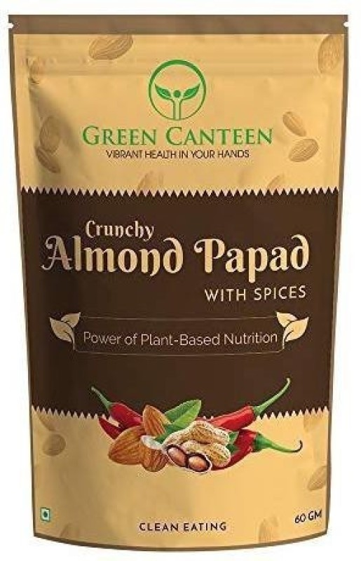 Green Canteen Almond Papad with Spices 60gm (No Preservatives, No Added Oil, Gluten Free) 60 g