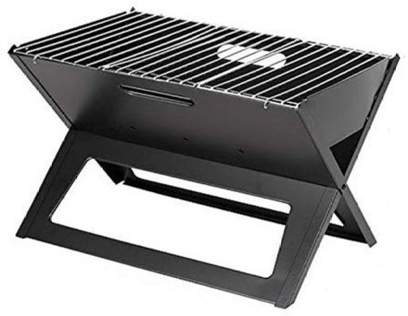 Continental BBQ Barbeque Charcoal Grill Foldable Crystal Plate Oven LxBxH (47 * 31.5 * 41) CM (ITN-179-2) Black Carbon Steel Meatball Rack Grill(Pack of 1)