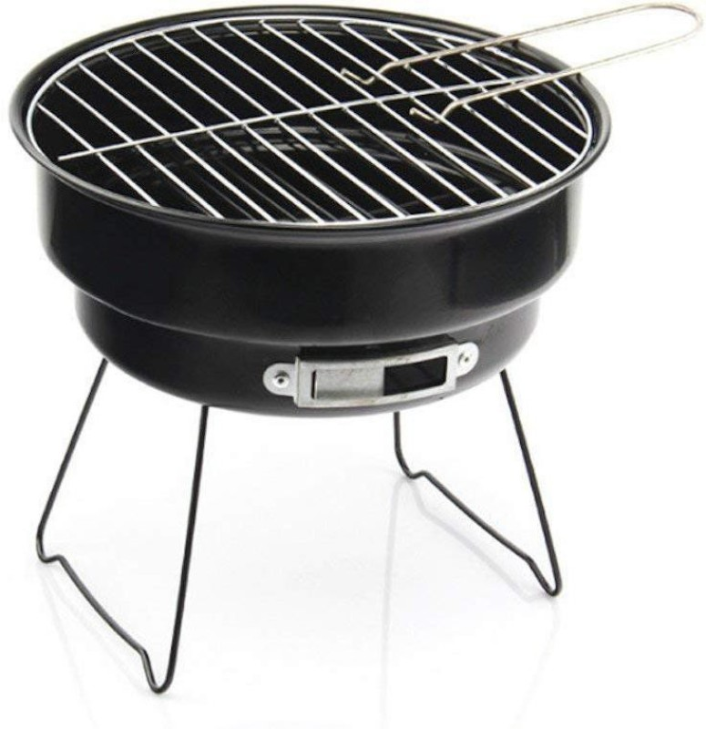 Continental BBQ Round Shape Barbeque/Portable Charcoal Barbecue Table Camping Outdoor Garden Grill BBQ Black Carbon Steel LxBxH (33 * 13 * 16) cm (ITN-179-3) Color Black Meatball Rack Grill(Pack of 1)