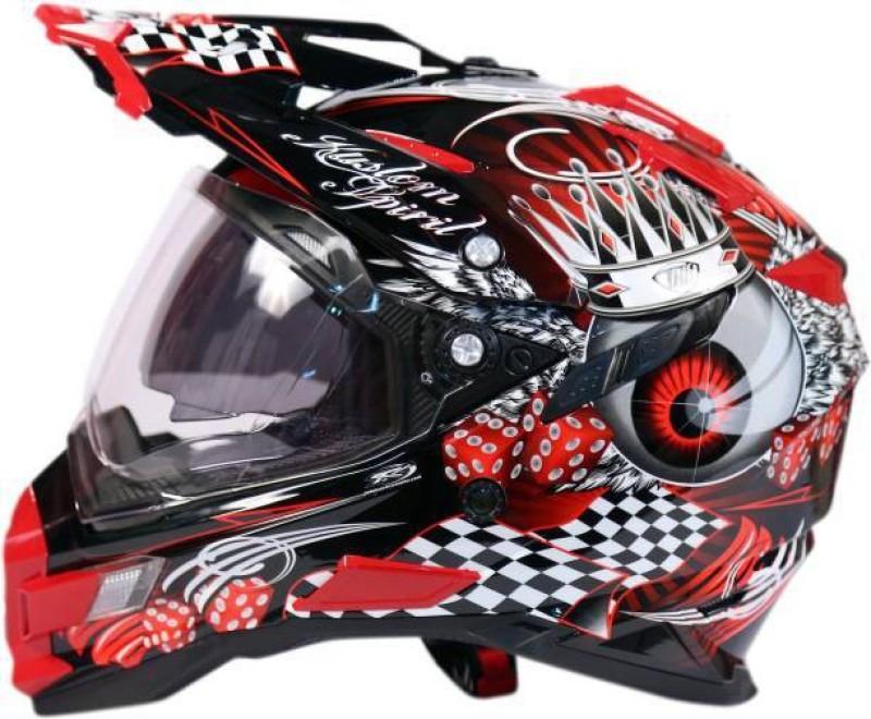 Studds THH TX 72 Glossy Red Dual Visor Motocross Motorbike Helmet(Red, Black)