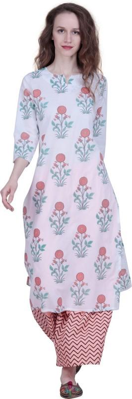 The Kala Shop Cotton Cambric Block Print White Kurti With Cotton Rayon Palazzo Printed Women Suit