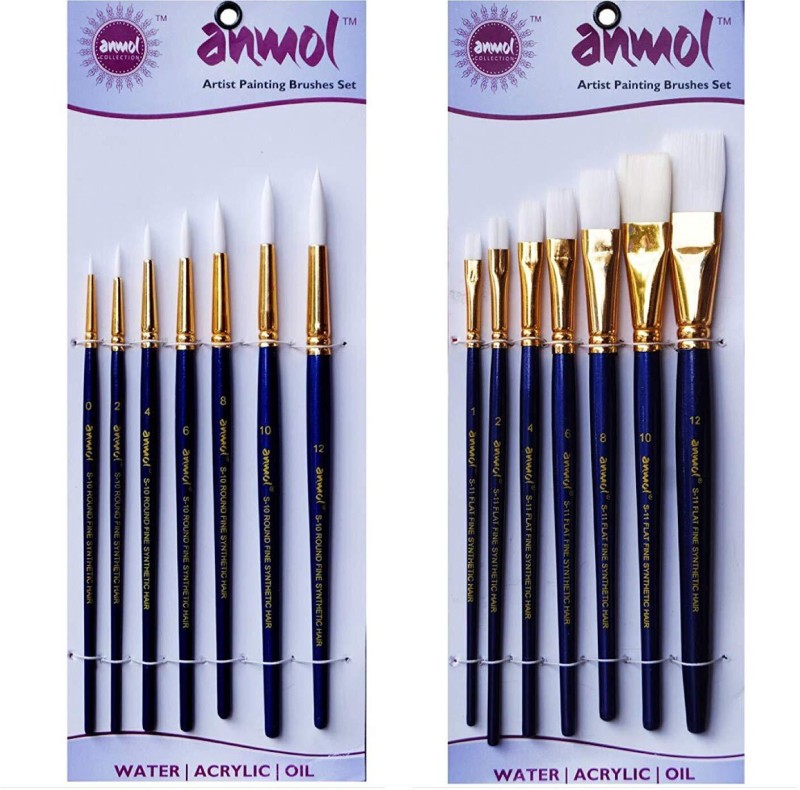 Anmol Artist Painting Brush Fine Synthetic Brush-Series-10& Series 11(Set of 7 Round&Flat) Airbrush