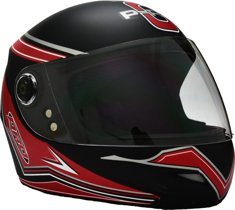 O2 MAX PRO P3 RED GRAPHIC WITH CLEAR POLY CARBONATE VISOR Motorbike Helmet(Black)