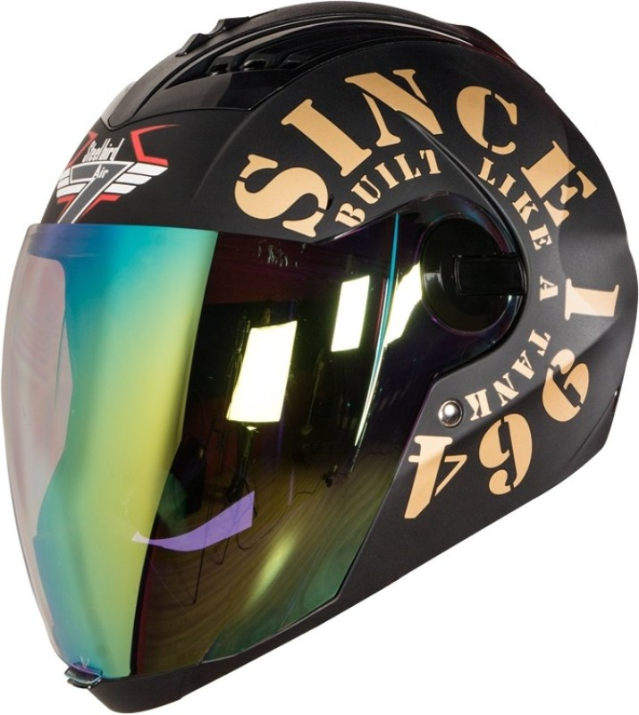 Steelbird SBA-2 1964 Tank with Night Vision Visor Motorbike Helmet(Black/Gold)