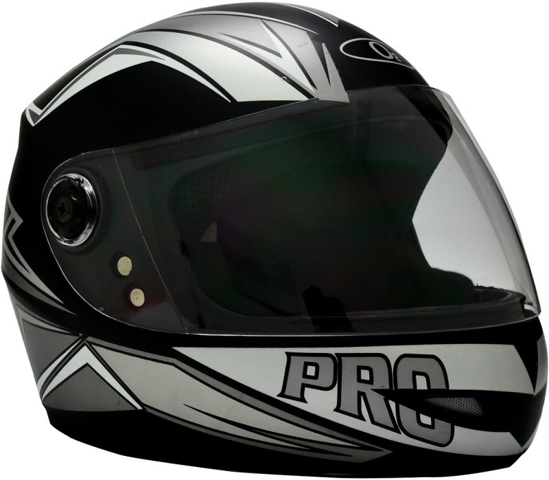 O2 MAX PRO P2 SILVER GRAPHIC WITH CLEAR POLY CARBONATE VISOR Motorbike Helmet(Black)