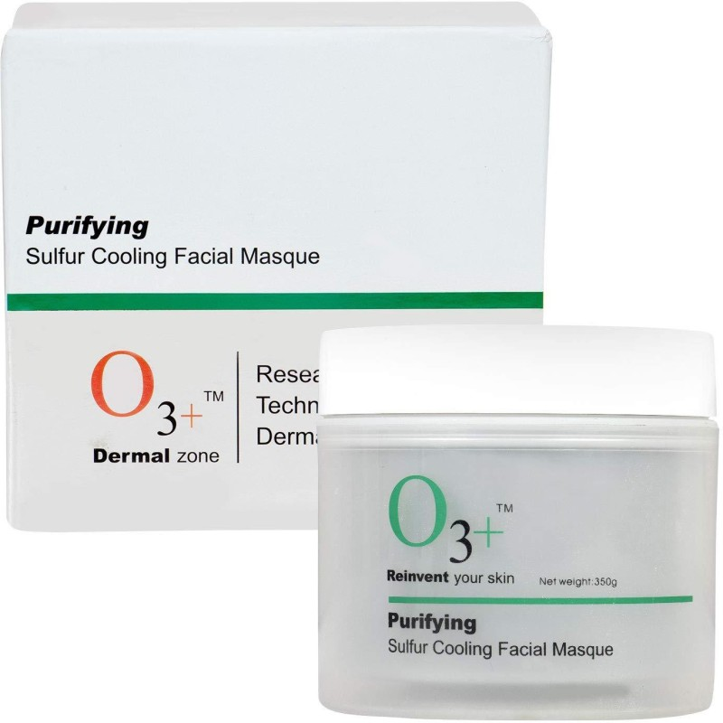 O3+ Purifying Sulfur Cooling Facial Mask with Organic Willow Bark and Mint for Acne Mark Removal and Radiant Glow(350 g)