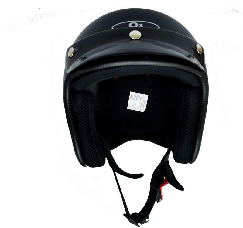 O2 Star Matte Black Open Face Helmet With Hole For Locking Device Motorbike Helmet(Black)