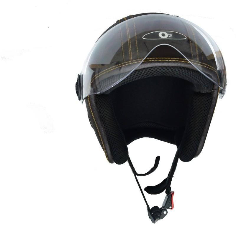 O2 Star Leather Brown Motorbike Helmet(Brown)
