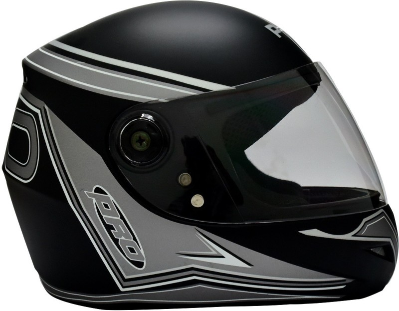 O2 Max Pro P3 Silver Graphic With Clear Poly carbonate Visor Motorbike Helmet(Black)