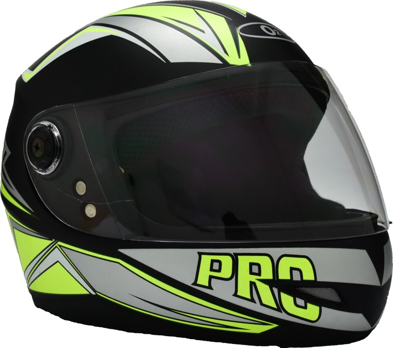 O2 GREEN GRAPHIC WITH CLEAR POLY CARBONATE VISOR Motorbike Helmet(Black)