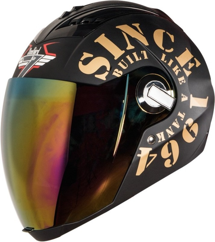 Steelbird SBA-2 1964 Tank with Visor Motorbike Helmet(Black/Gold)
