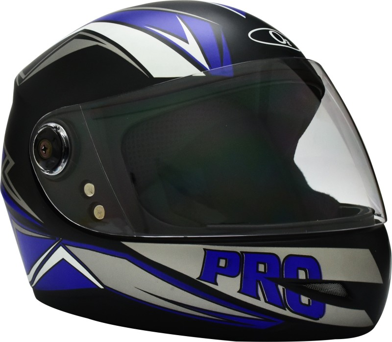 O2 MAX PRO P2 BLUE GRAPHIC WITH CLEAR POLY CARBONATE VISOR Motorbike Helmet(Black)