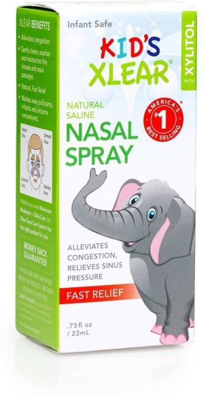 Xlear Inc Kid's Xylitol and Saline Nasal Spray - .75fl oz- 3Pack Manual Nasal Aspirator(Transparent)