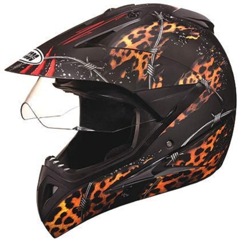Studds Motocross D1 Decore With Visor (Black Golden, L) Motorbike Helmet(Black)