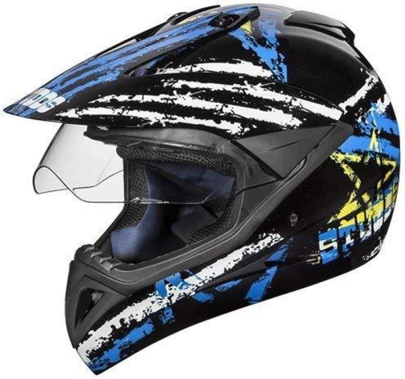 Studds Motocross D5 Helmet With Visor (Black Blue, L) Motorbike Helmet(Black, Blue)