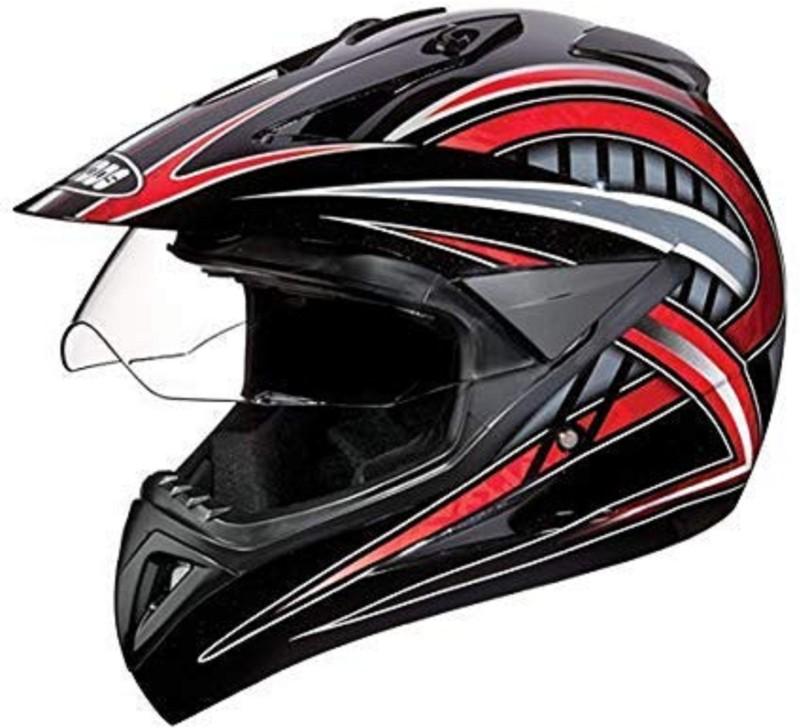 Studds Motocross D2 Helmet With Visor (Red N2, L) Motorbike Helmet(Black, Red)