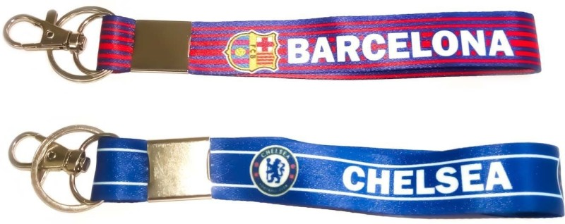 Shop Top Double sided Premier league Fabric ID tag combo of Football club ( Barcelona and Chelsea) Lanyard(multicolor)