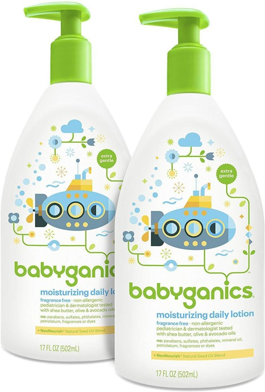 Babyganics Daily Baby Lotion, Fragrance Free, 17 Ounce (Pack of 2)(502 g)
