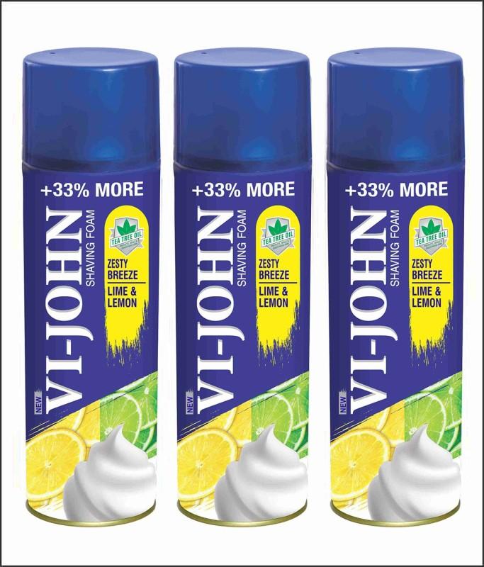 VI-JOHN VIJOHN Shave Foam Lemon & Lime 400GM (PACK OF 3)(400 g)