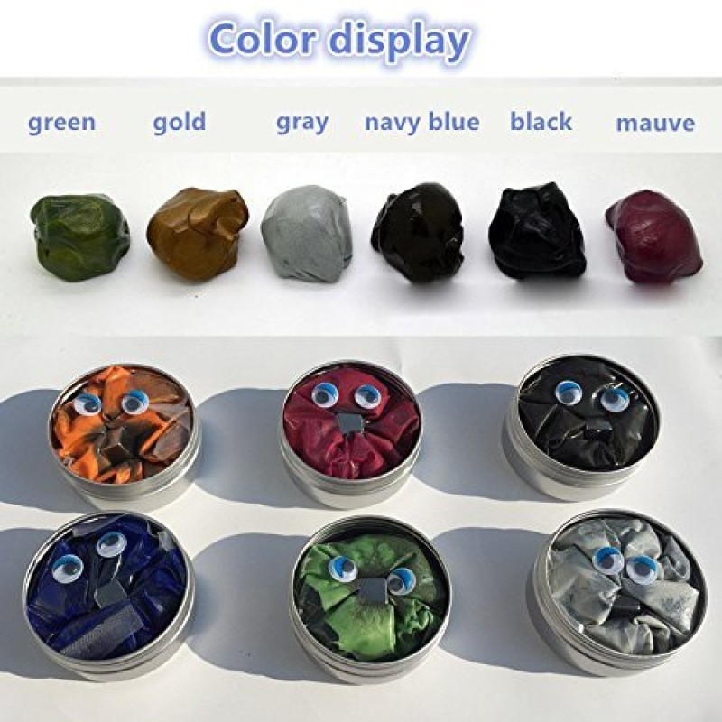 Graces Dawn 6 Set Magnetic Putty Slime Super Stress Reliever Infused With Iron Relaxing Fun A Set Of A Set Of 6 Boxes, 6 Colors?Gold,Red,Green,Gray,Navy Blue,Black,Mauve Once To Meet All