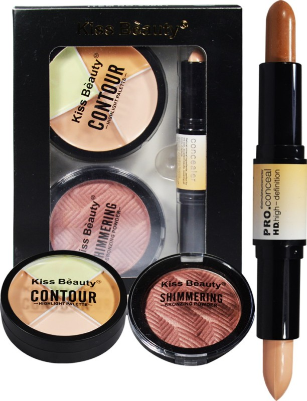 Kiss Beauty Face 3in1 Contour Kit 23001B Concealer(Multicolor, 34 g)
